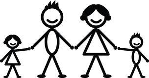 happy-stick-family-black-white-34641919
